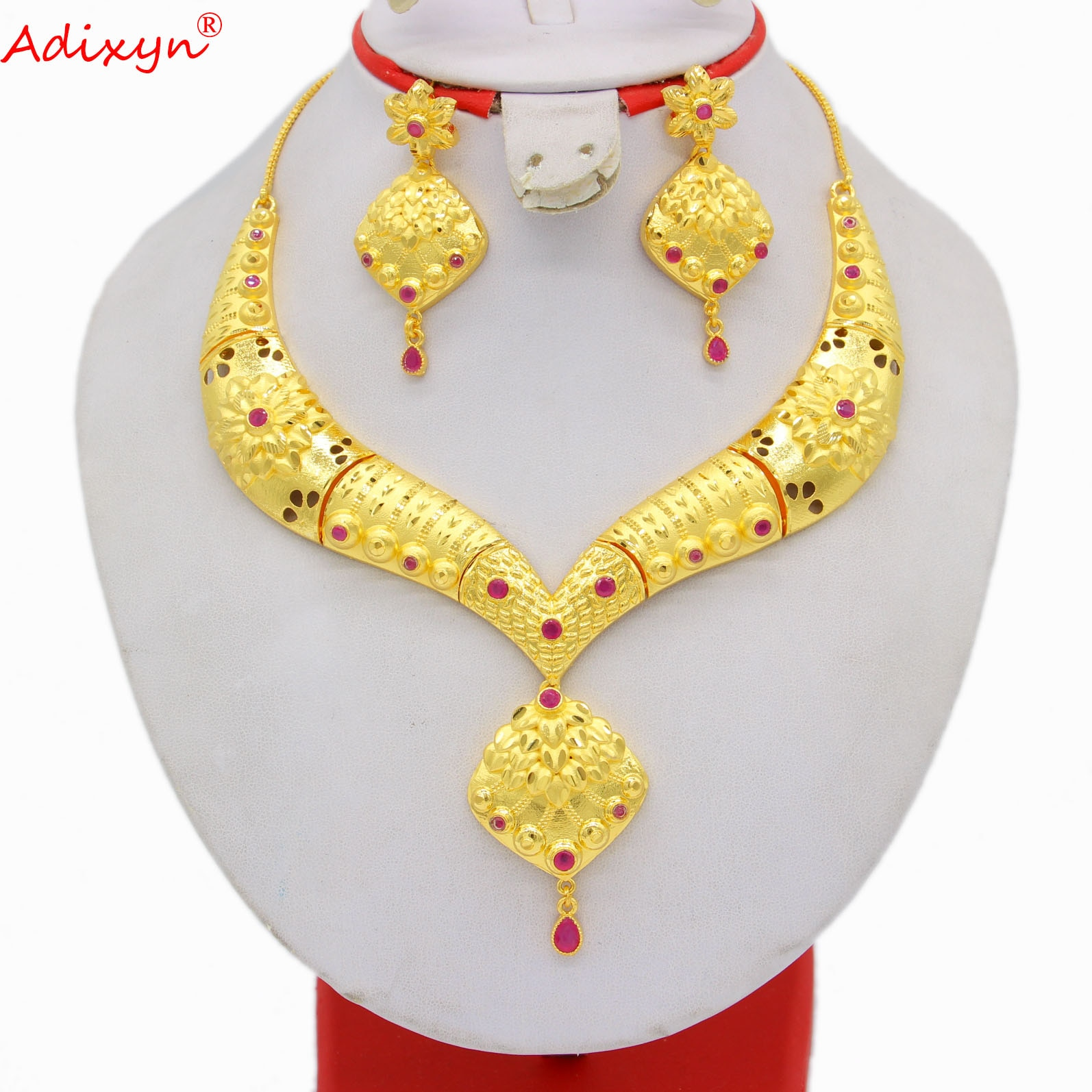 Adixyn 2021 Dubai African Jewelry Set Necklace Earrings for Women 24K Gold Color Indian Ethiopian Wedding Crystal Gifts N04075