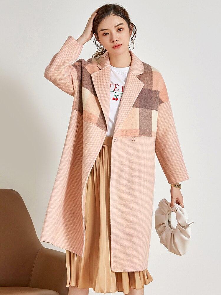 أن تسليم الموسم الراقية Te 100% الصوف مزدوجة معطف الإناث منقوشة الكشمير معاطف الشتاء معدل يصل يوان