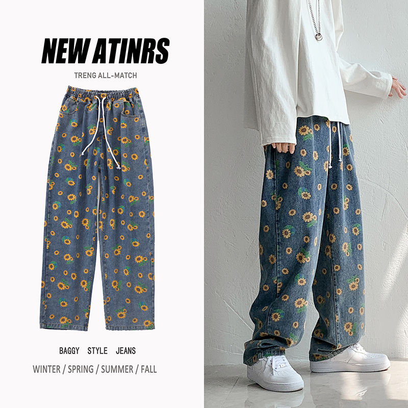 Pantalones vaqueros rectos de flores a la moda Retro con cordón para hombre, pantalones vaqueros holgados de estilo Hip-hop para hombre, pantalones vaqueros para M-2XL