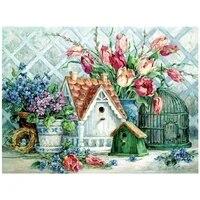 Peinture de diamant 5D a mosaique de fleurs en strass  broderie complete de cercle complet  decoration de maison  cadeau  bricolage