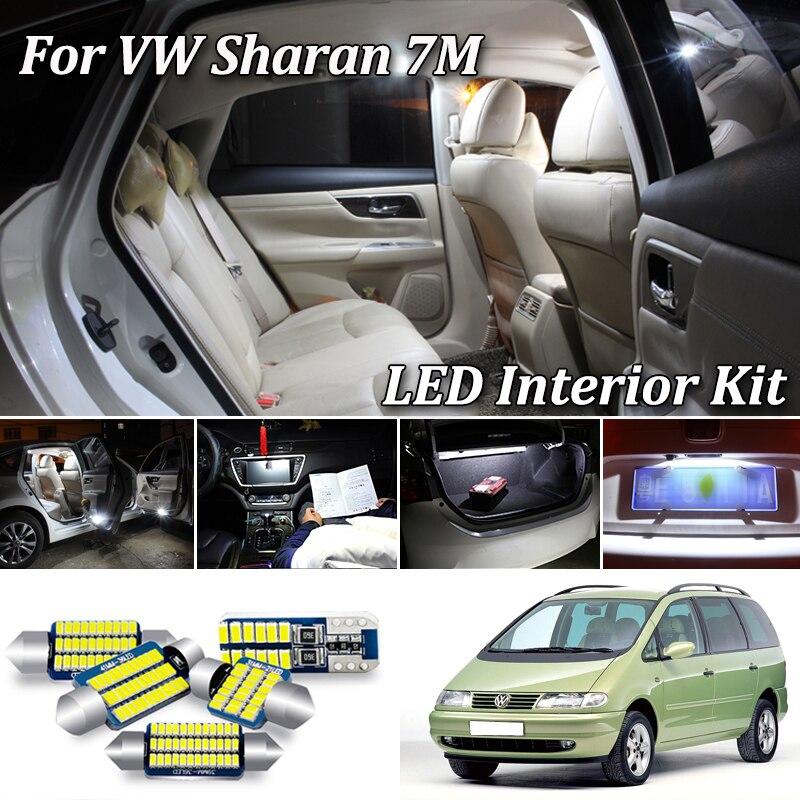 100% blanco Error Canbus gratis para Volkswagen VW Sharan 7M 7M8 7M9 7M6 luz LED Interior + lámpara de placa de matrícula Kit (1995-2010)