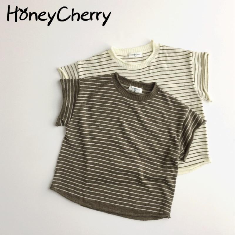 AliExpress - Summer 2021 new children Korean short sleeve thin stripe round collar T-shirt kids summer clothes
