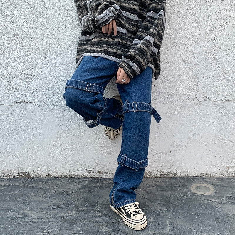 Men's Jeans New Spring Chic Straight Jean Pants Men Loose Casual Homme Wide Leg Denim Trousers Black/Blue S-5XL