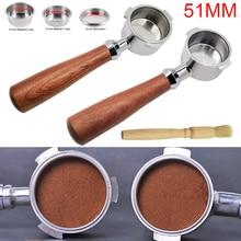 Portafiltro sin fondo de 51mm, máquina profesional de café Espresso, herramientas de café con anillo dosificador, Escala de jarra de espuma