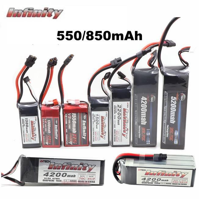 Infinity 550 mah 850 mah 85c 2 s 3 s 4S 11.1 v 14.8 v lipo bateria jst sy60 xt60 xt30 plugues para rc fpv multicopter modelo zangão