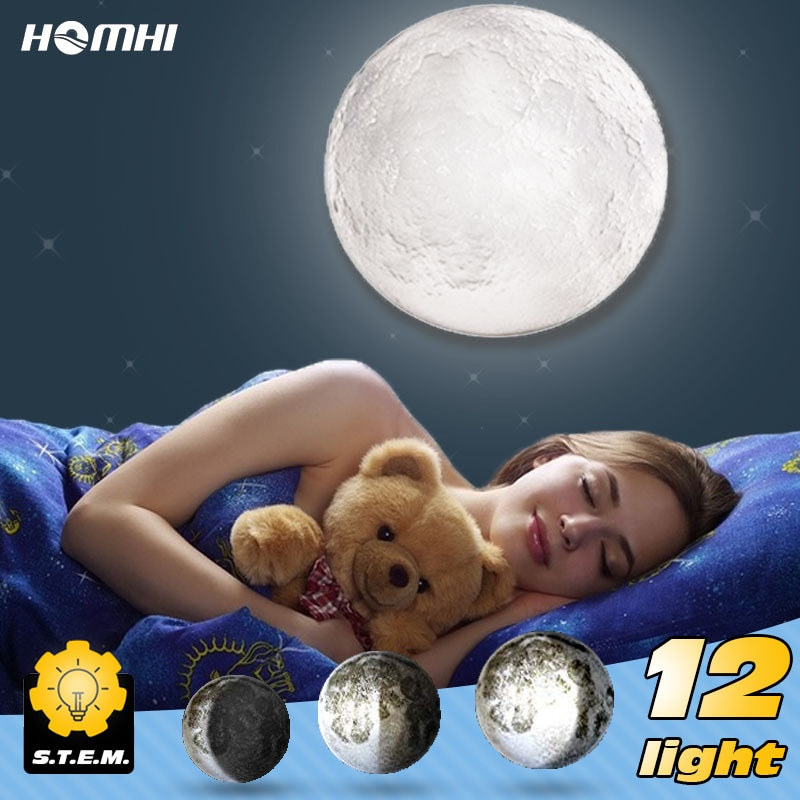 Moon Light Wall Lamps for Bedroom Wall Deco Child Room Baby Night Light Creative Fixtures Kids Room Light 3d Print Wall Sconces