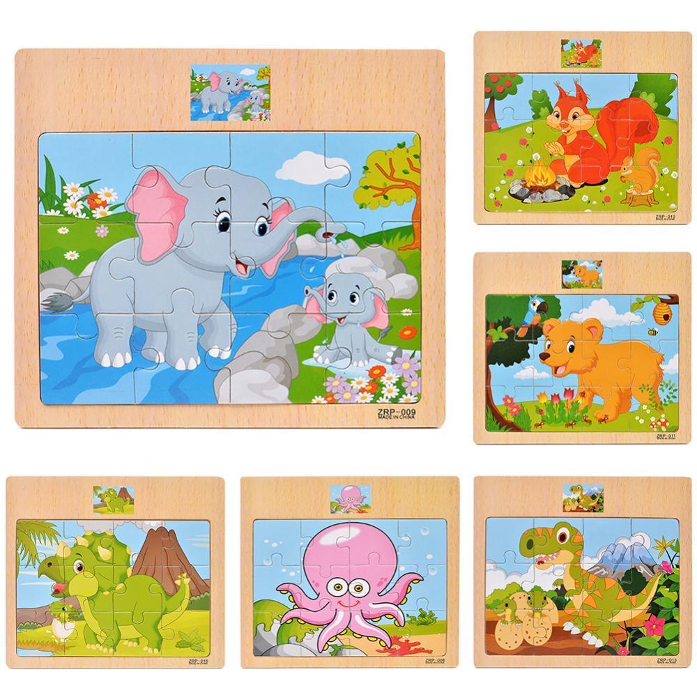 Детские головоломки доска игрушка деревянный красочный динозавр Зебра Животные головоломки доска для детей