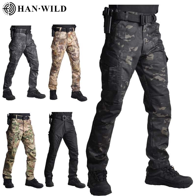 Брюки-карго HAN WILDHigh мужские тактические, повседневные Джоггеры в стиле милитари, камуфляжные штаны со множеством карманов, модные черные ар...