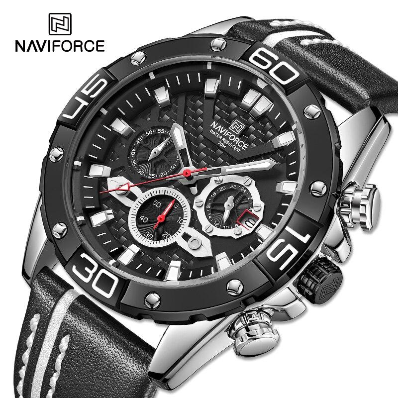 NAVIFORCE Men's Watches Luxury Military Sport Quartz Wrist watch High Quality Leather Strap Waterproof Analog Chronograph Clock