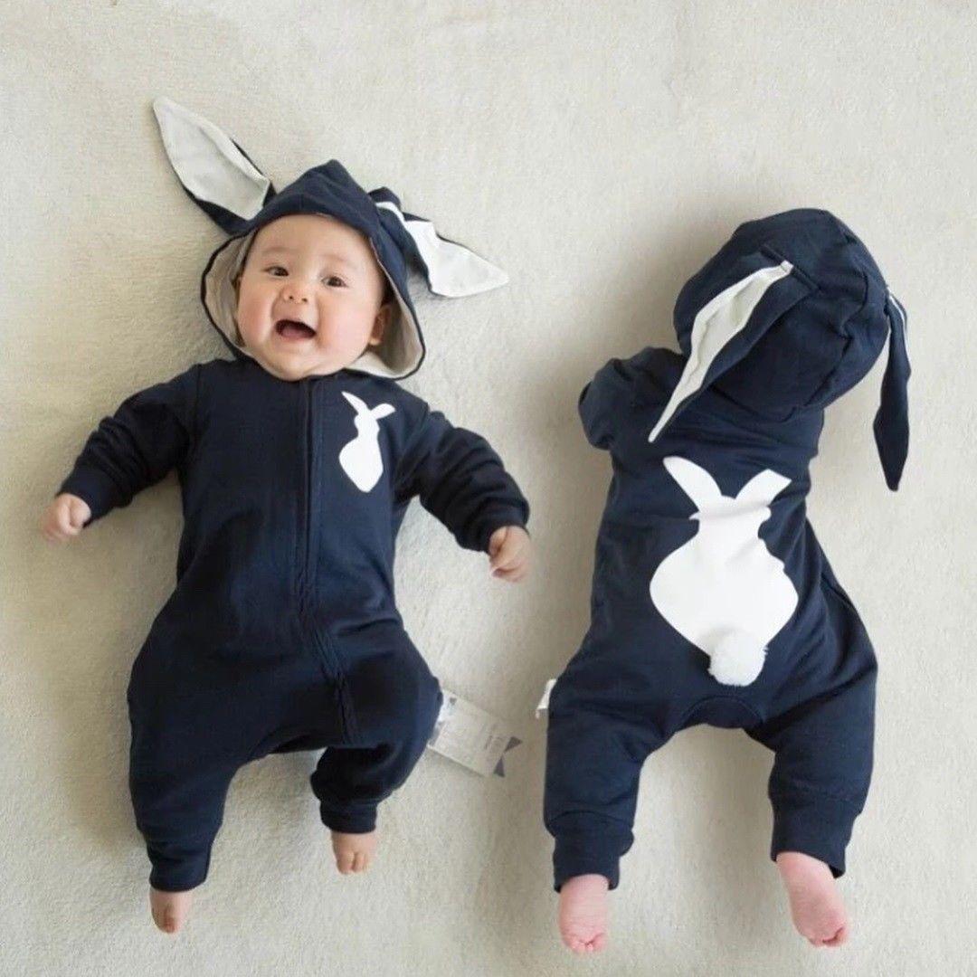 Manga larga Zip Up cola de conejito Mono para bebé niño conejo oreja con capucha mono otoño