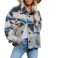 women woolen jacket retro geometric printed warm coat female casual vintage single breasted coat 21aw new lady%e2%80%98s clothes