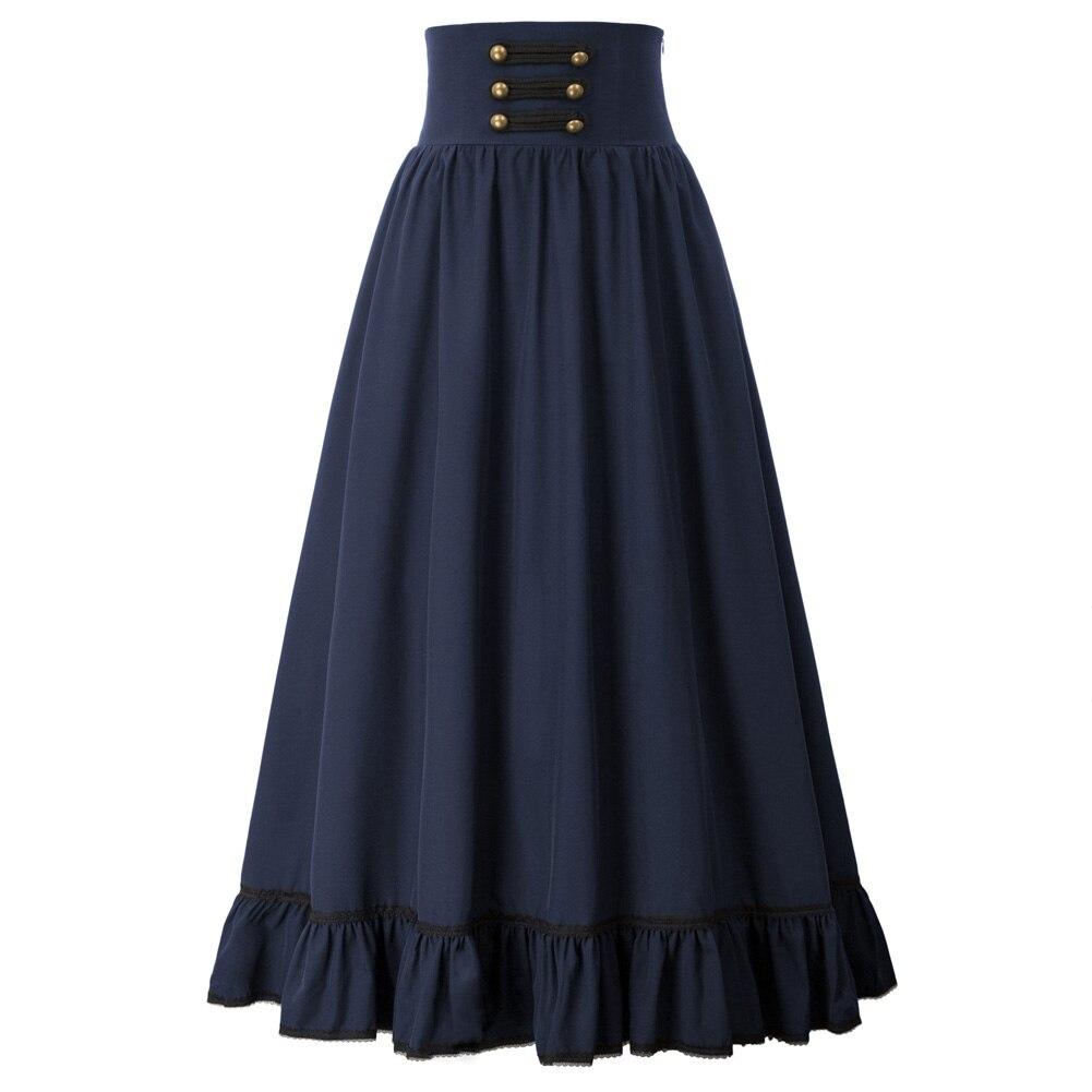 Steampunk تنورة المرأة القوطية تنورة طويلة عالية الخصر تكدرت تنحنح ألف خط مرونة الخصر Vintage ملابس حفلات ريترو الكشكشة سيدة جديد