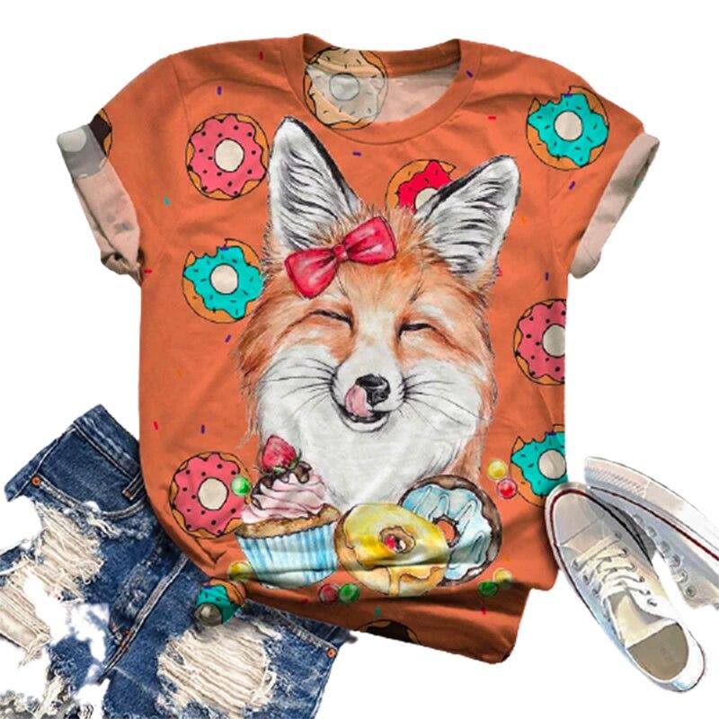 2021 Women Cute Cartoon Foxes Printed T-shirt Animal Short Sleeve O-neck Casual Tops Tee 2020