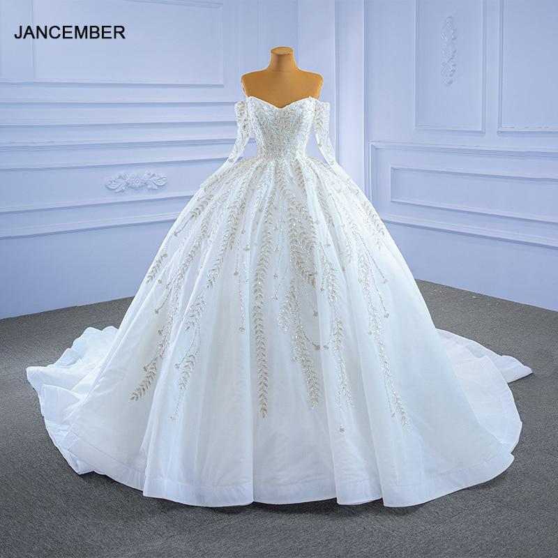 RSM67284 أنيقة موجزة الزفاف فستان الزفاف الأبيض يترك نمط جديد طويل الأكمام صديرية دائرية عارية الذراعين مأدبة فستان رسمي