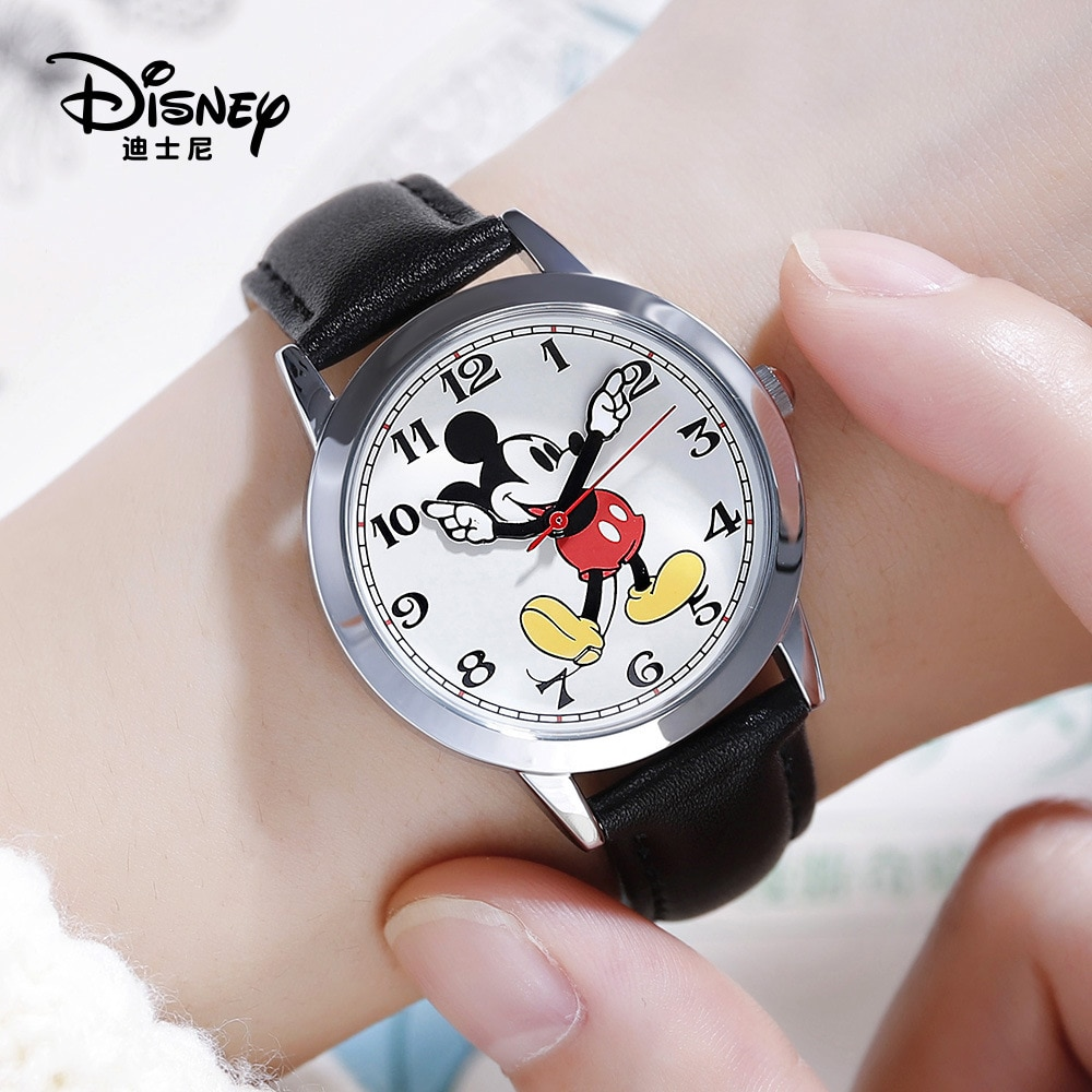 Disney Mickey Mouse Women Quartz Wristwatch 3Bar Waterproof Simple Fashion Round Leather Strap Women Watches Gift Alloy Buckle