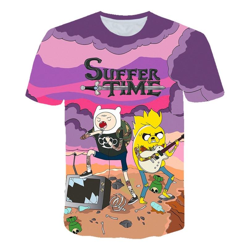 Camiseta de verano para hombre y mujer, camiseta de dibujos animados Jake The Adventure Time, camiseta psicodélica con estampado en 3D, camiseta Finn 6XL