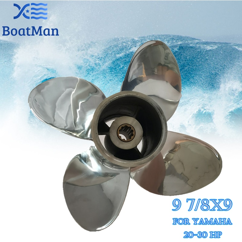 Outboard Propeller 9 7/8x9 For Yamaha Engine 20HP F25HP 4-Stroke 30HP Stainless steel 10 splines Boat Parts & Accessories