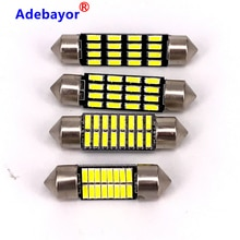 100 pièces 31mm 36mm 39mm 41mm Led 4014 16 SMD blanc Festoon dôme C5W intérieur lumières voiture Auto intérieur compartiment à bagages lumières