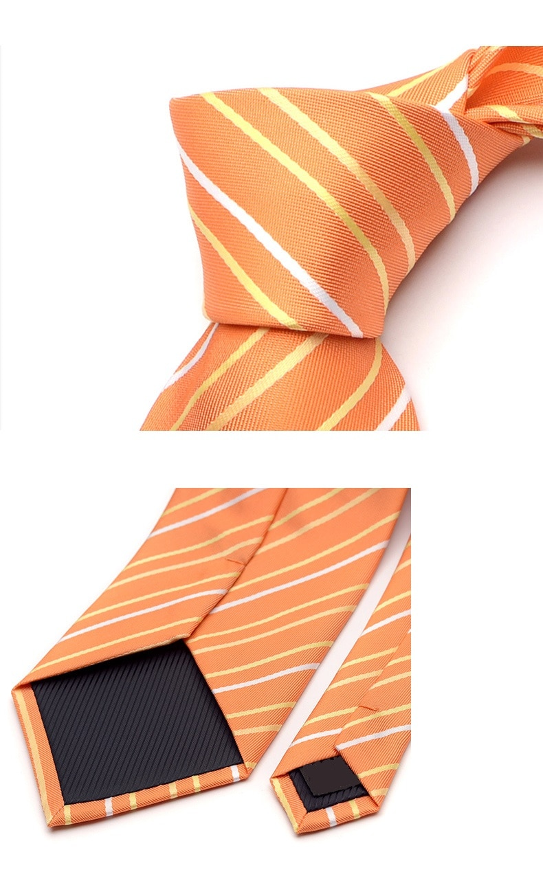High Quality 2019 New Fashion Ties Men Business 9cm Striped Orange Silk Tie Wedding Ties for men Designers Brand with Gift Box