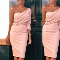 elegant pink long sleeves one shoulder sheath sweetheart satin wedding guest dress bridesmaid dresses