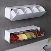 1pcs wall mounted seasoning box with seasoning spoon punch free spice box combination sets home kitchen seasoning storage tools