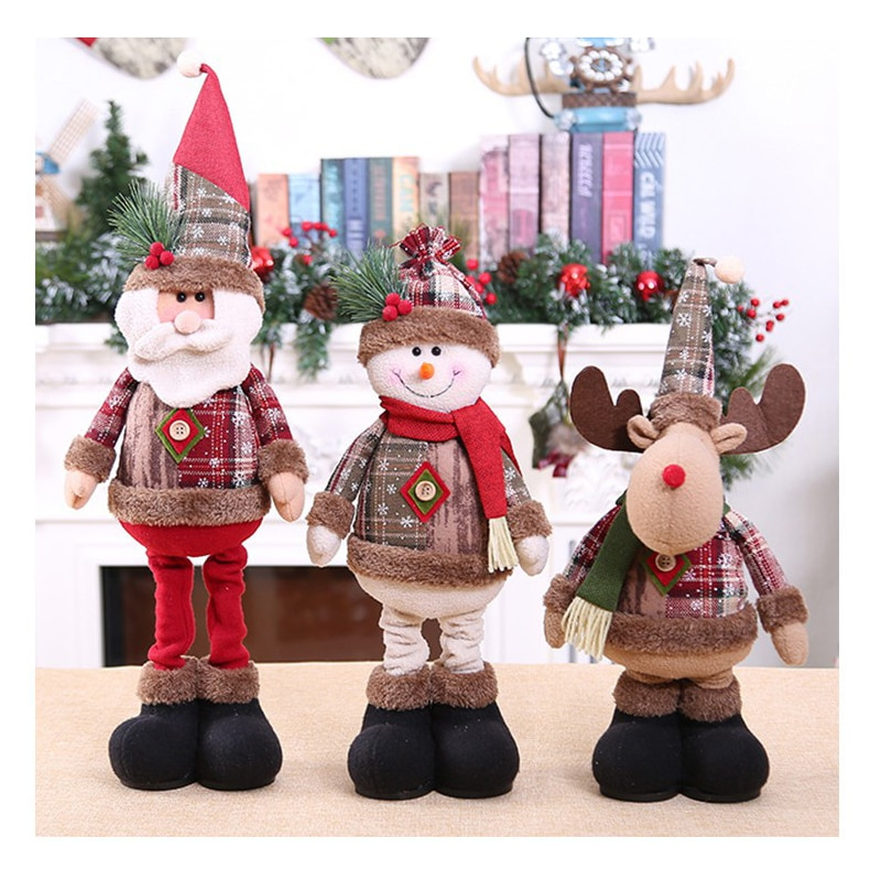 2020 Hot Christmas Dolls Retractable Santa Claus Innovative Elk Snowman Toys Christmas Gift for Kid Red Xmas Tree Ornament недорого