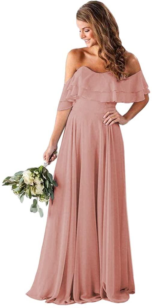 Платья подружки невесты с открытыми плечами, шифоновые длинные официальные платья для женщин, вечерние платья с карманами, женские вечерни...