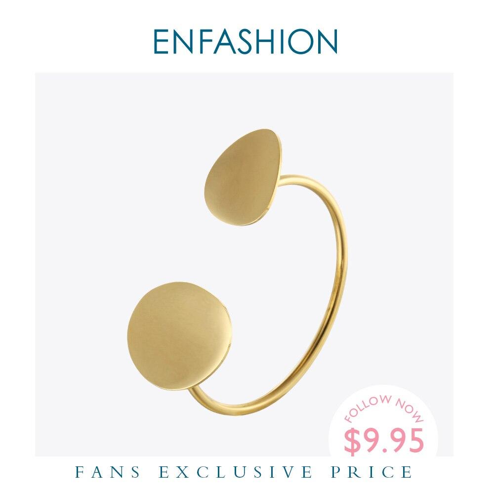 Enfashion flor pétalas manguito pulseira manchette cor do ouro pulseira de aço inoxidável para mulheres pulseiras pulseiras pulseiras