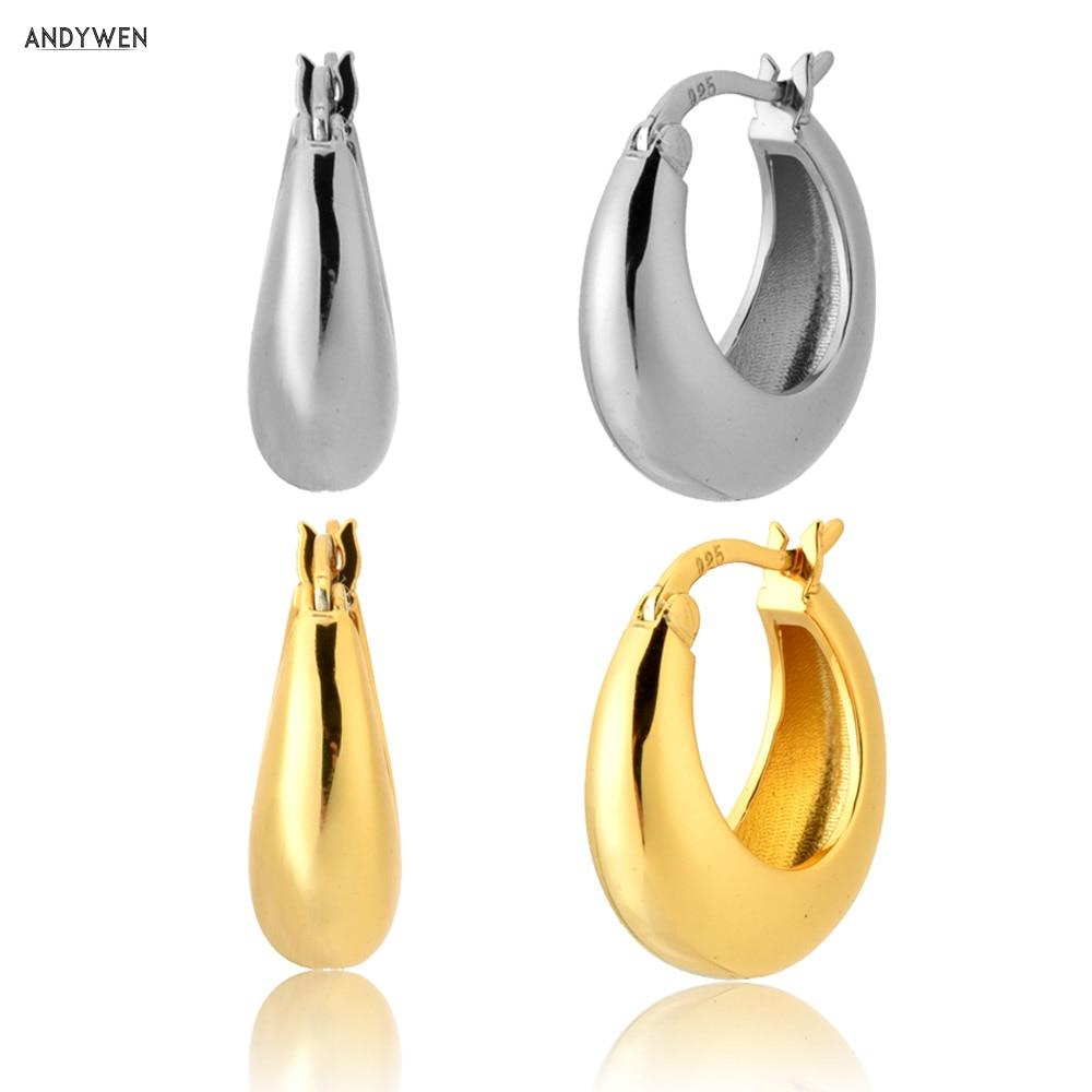 Aros de ópalos de Plata de Ley 925 de 12mm de ANDYWEN, Huggies dorados de lujo 2020, piercings de fiesta Rock Punk para mujer, joyería de moda, colgante