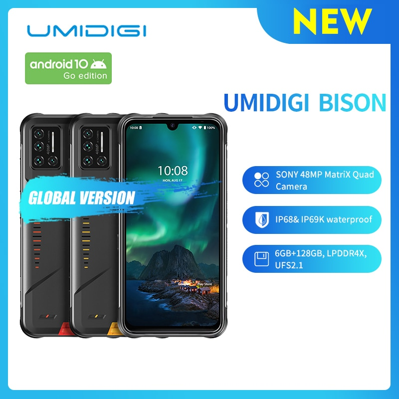 UMIDIGI BISON IP68/IP69K Waterproof Rugged Phone 48MP Matrix Quad Camera 6.3