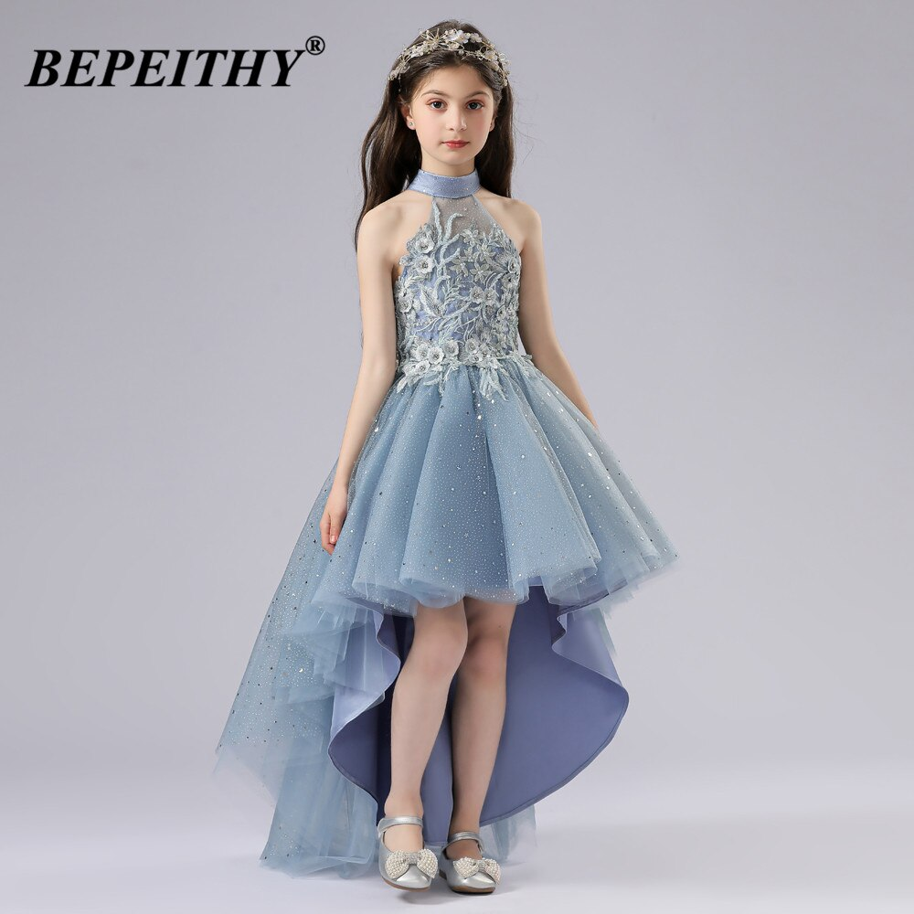 BEPEITHY-فستان سهرة للبنات ، فستان ترابيز ، ياقة عالية ، بدون أكمام ، لحفلات الزفاف ، 2021