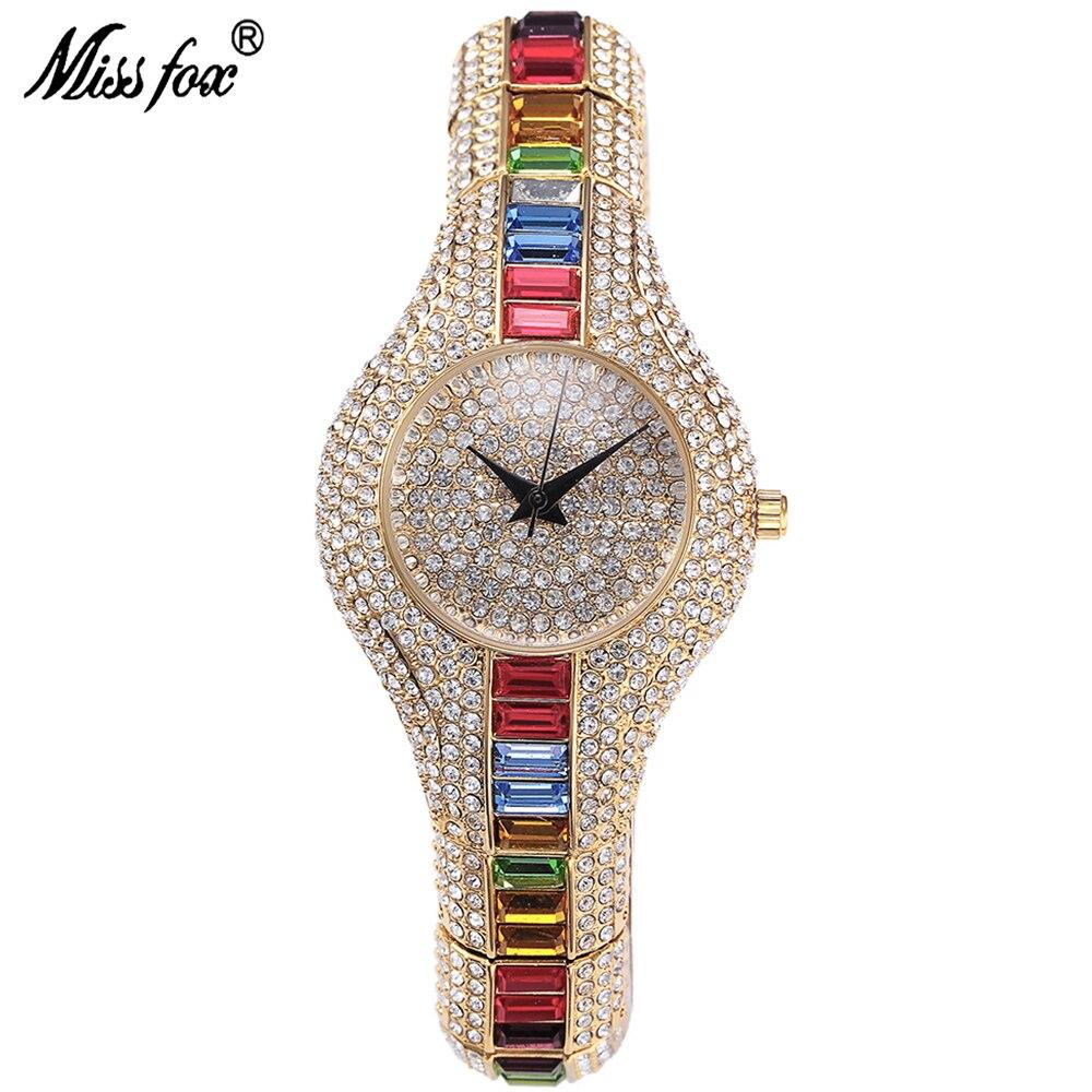MissFox, reloj de lujo para mujer, pequeño reloj Hardlex de diamantes de imitación resistente al agua y a los golpes, reloj de pulsera de lujo para mujer V196