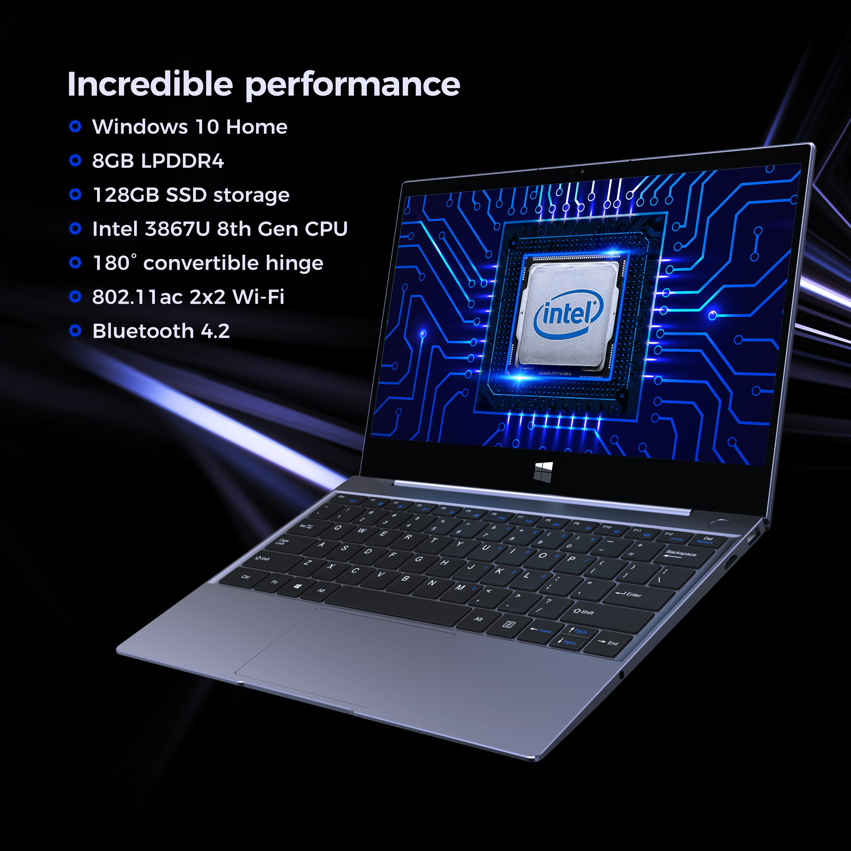 XIDU Laptop Touchscreen Window10 Intel x7 3867U Processor Notebook 8GB RAM 128GB ROM 2560x1440 Resolution Support Expand to 1TB1
