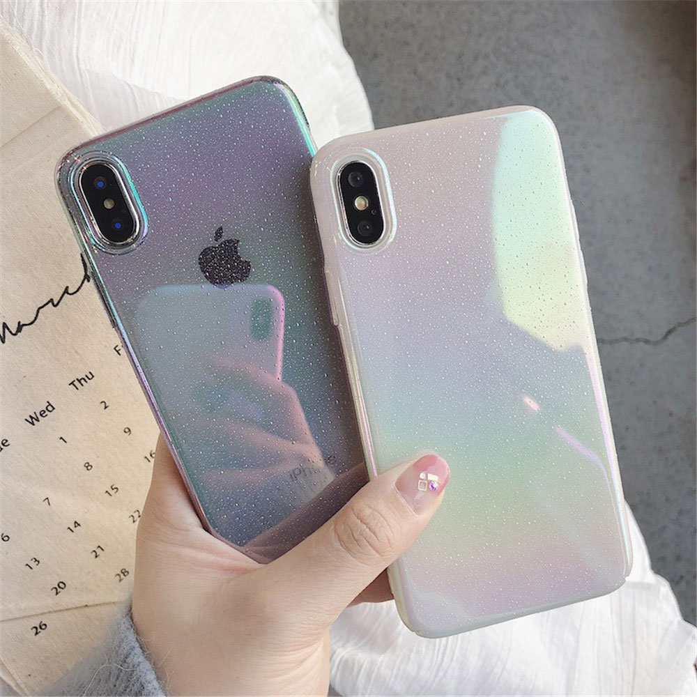 Funda de teléfono gradiente de arco iris para iPhone 11 Pro Max XR XS Max 6s 7 8Plus gota de agua PC funda dura para iphone 12 Back Coque Fundas