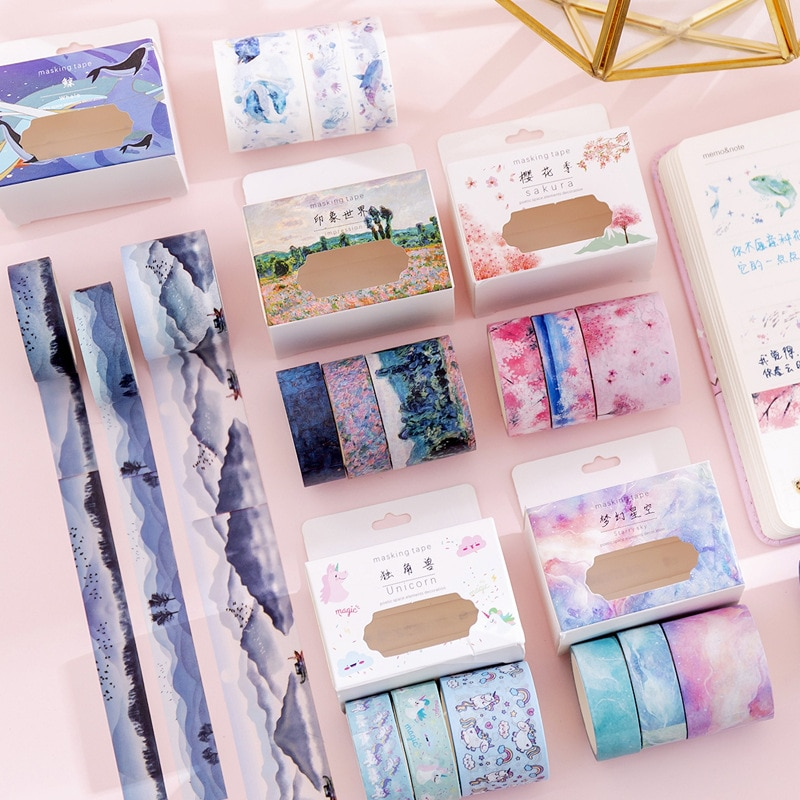 3Pcs/Set Multi-color Washi Tape Cute Decorative Adhesive Tape Solid Color Masking Tape For Stickers Scrapbooking DIY Stationery