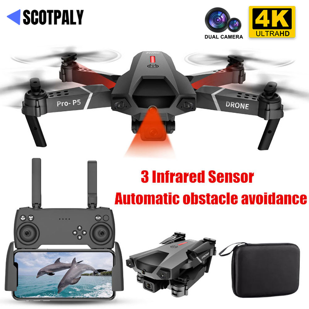 Profissional Mini 4K Drone P5 Obstacle Avoidance Dron WIFI FPV Dual Camera Fixed Height Fold RC Quad