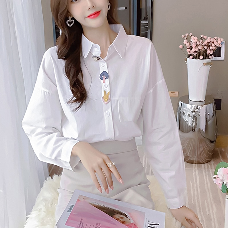 lovely Young girl Striped White Shirt Women 2020 Autumn New Button Loose Long Sleeve Cartoon Turn Down Collar Women Blouse 30G