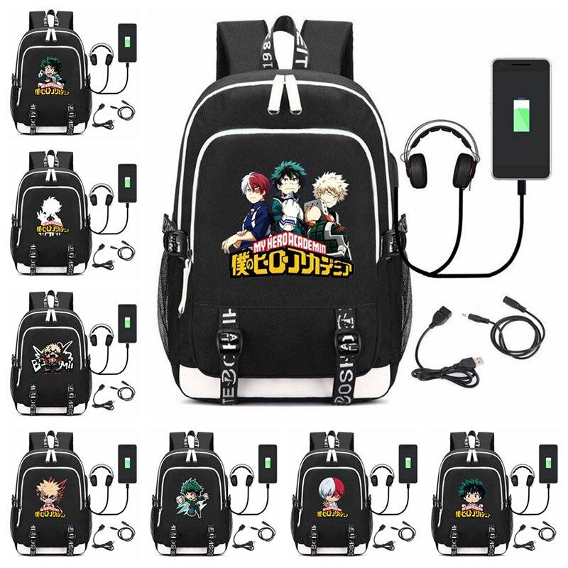 Bolsas de Viagem Anime Herói Academia Mochila Usb Carga Multifuncional Mochilas Homem Crianças Adolescentes Portátil Bagpack Escola n1 Meu