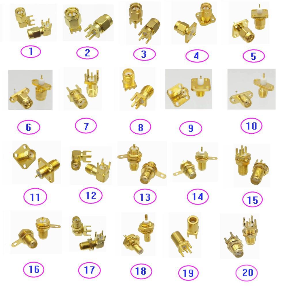 5PCS Connector SMA / SMB Solder PCB mount & Flange PTFE mount & Bulkhead Nut mount Male Plug & Female Jack RF Coaxial