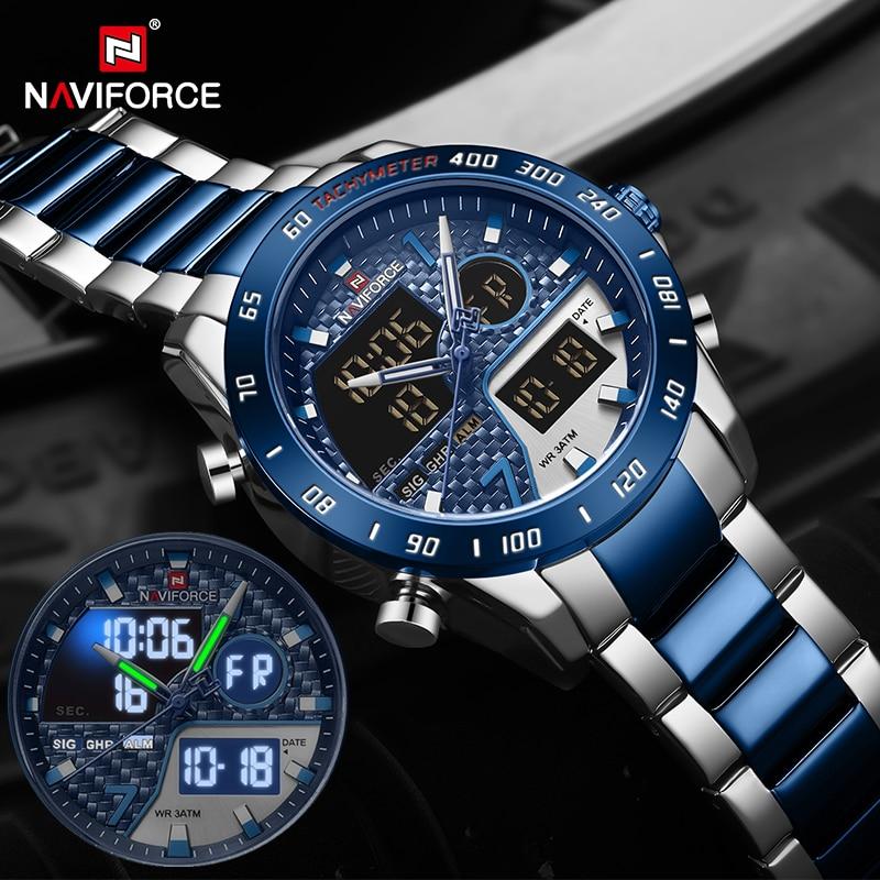 NAVIFORCE Luxury Brand Men's Wrist Watch Military Digital Sport Watches For Man Steel Strap Quartz Clock Male Relogio Masculino super speed v6 v0180 racer quartz movement wrist watch for man black brown white