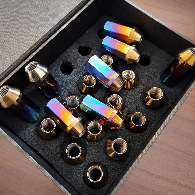 PYTITANS Gr5 45mm Car Titanium Wheel Lug Nuts M12 x 1.5 X45mm Anodized Colorful Titanium Nuts Stock