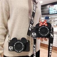 3d cute zipper wallet camera cartoon phone case for iphone 12 se 6 6s 7 8 plus x xr xs 11 pro max soft silicone purse bag cover