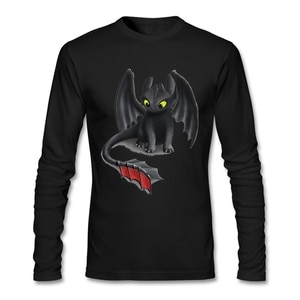 Wholesale Dropshippers Toothless Night Fury Inspired Dragon T Shirt Long Sleeve Men's T-Shirts Pop Online Cotton Fitness Men