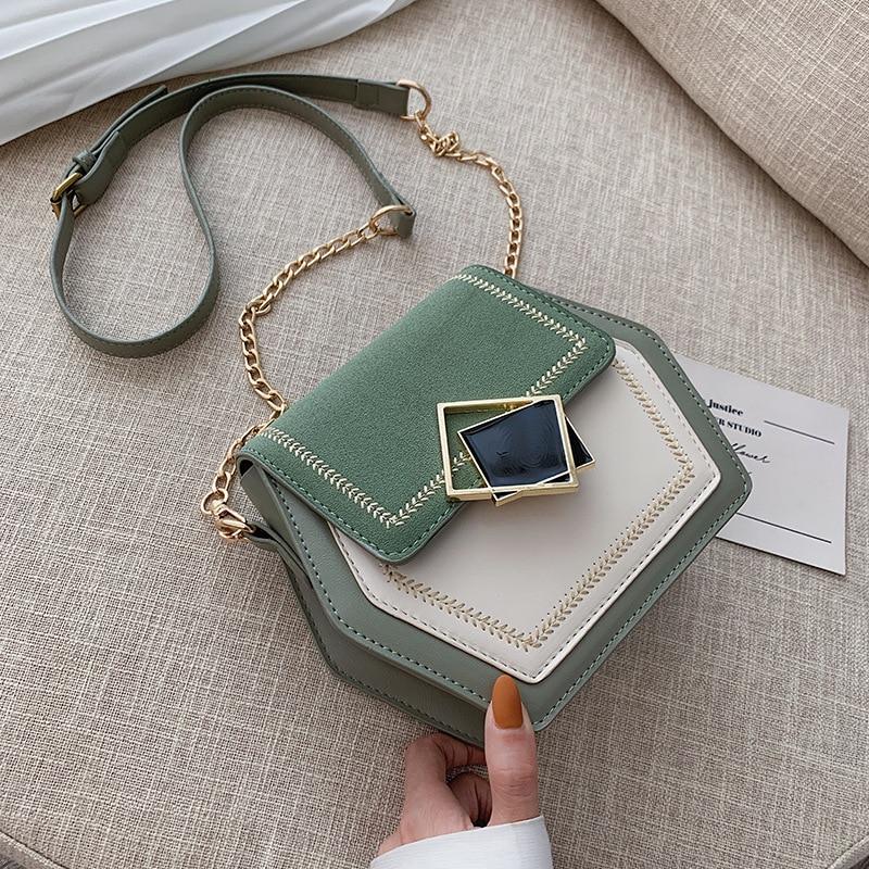 Contrast Color PU Leather Crossbody Bag For Women 2020 Travel Handbag Fashion Simple Shoulder Messenger Female