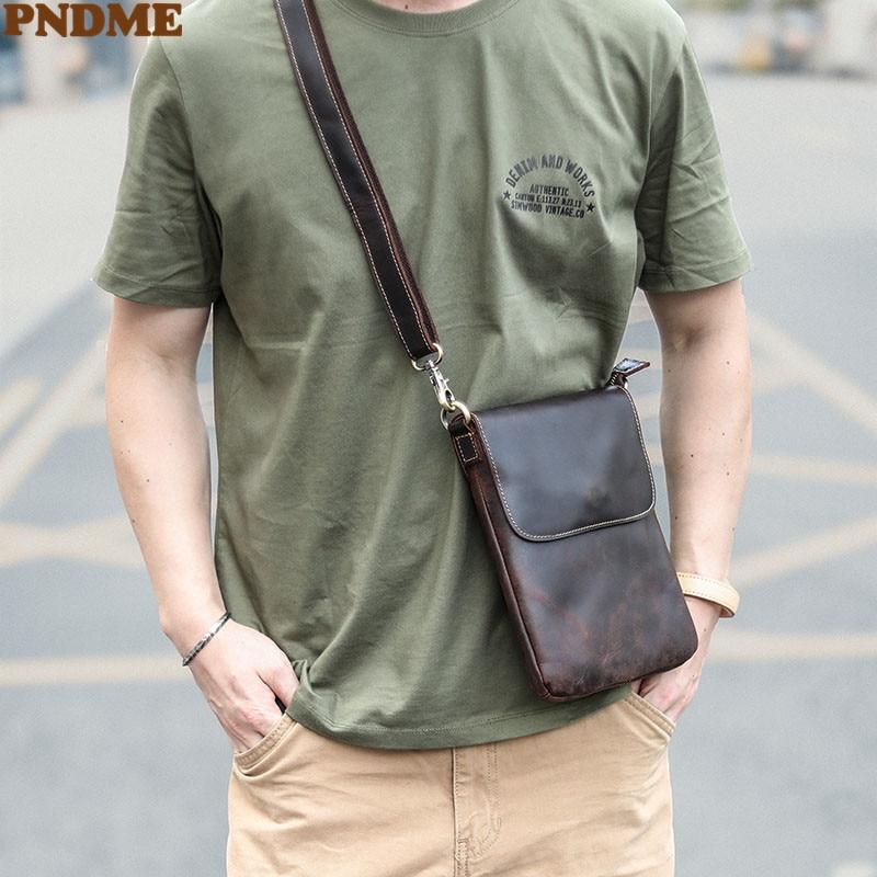 Простая мужская маленькая сумка-мессенджер PNDME из натуральной воловьей кожи, дизайнерская оригинальная Молодежная Повседневная сумка чере...