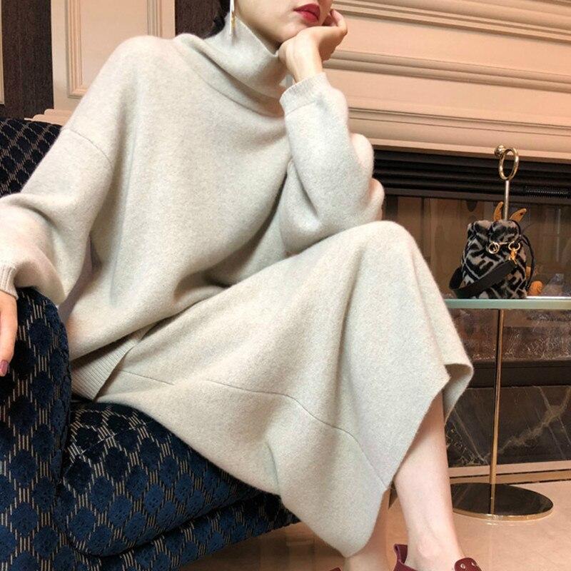 Swyivy-سترة شتوية محبوكة من الكشمير مع تنورة للنساء ، ملابس عصرية شتوية ، تنانير طويلة من الصوف بنسبة 2020