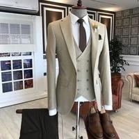 2021 beige men suits 3 pieces best man jacket terno slim costume homme formal groomsmen groom tuxedos wedding suits for men