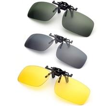 Clip On Sunglasses Driving Night Vision Lens Polarized Sun Glasses Male Anti-UVA  For Men Women With