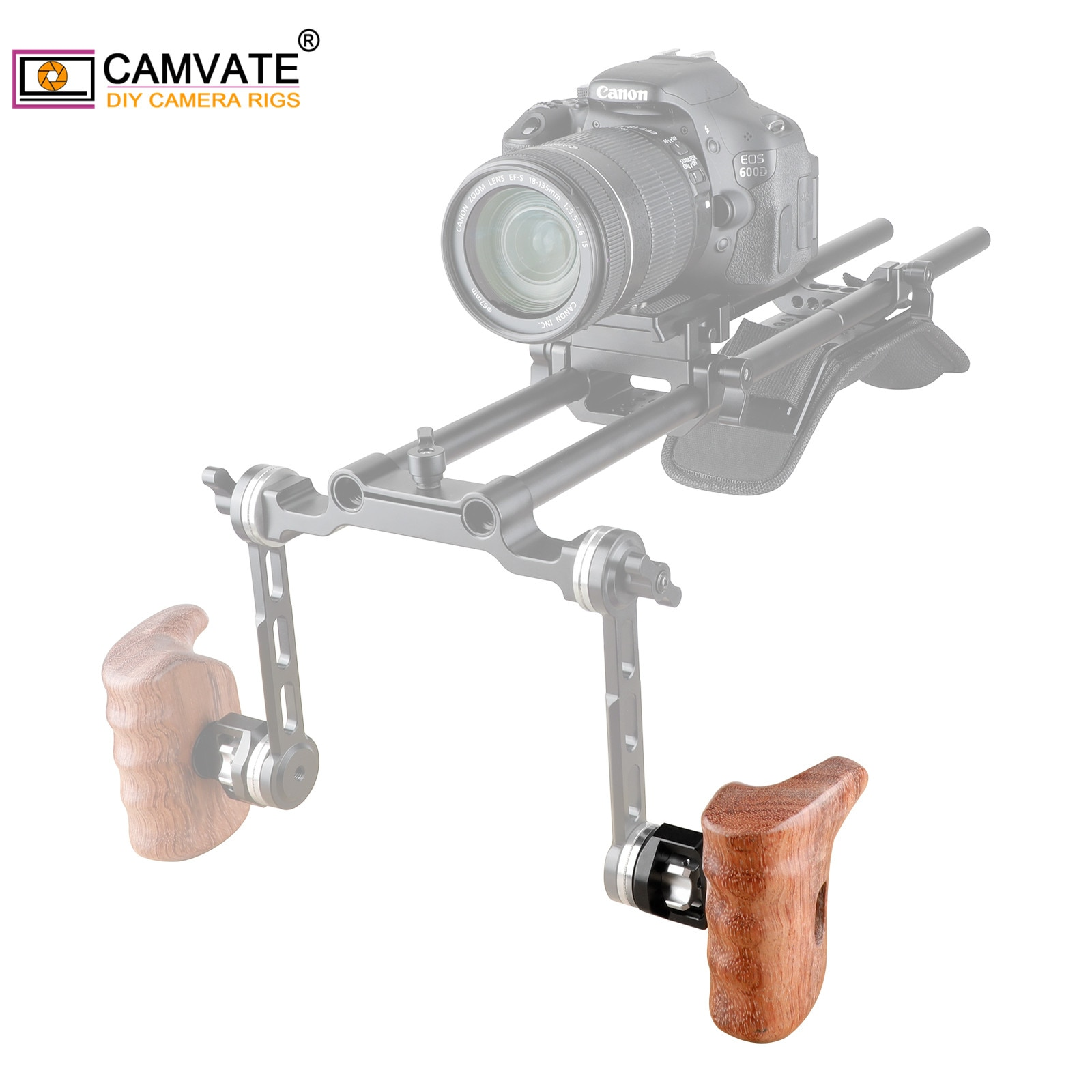 CAMVATE Camera Wooden Left Handgrip With Standard Rosette Mount M6 Threaded For DV Video Cage(RED camera/Red Rig/SLR Camera Rig)
