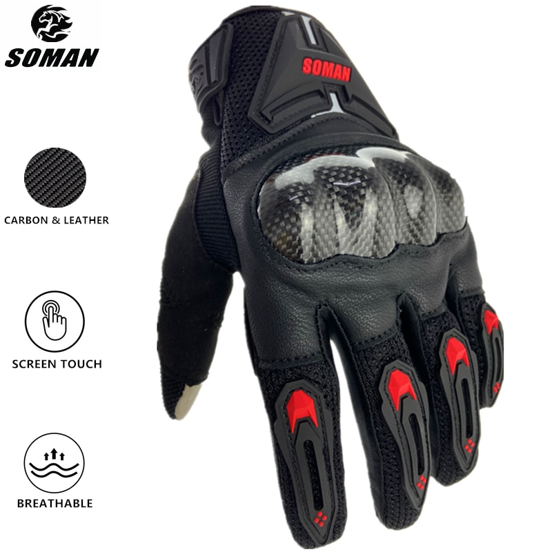 SOMAN Motorcycle Gloves Carbon Fiber Leather Moto Riding Gloves Men Motorbike Protective Gears Motocross Gants Moto Luvas MG19